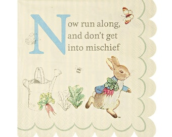 Small Napkins, Peter Rabbit Party Napkins (20) by Meri Meri, 5 X 5 Inch Easter Spring Storybook Party Supplies