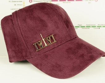 """Maroon/Burgundy Suede """"416"""" Golden Chrome Collection Dad Caps. Original, Custom, The Six, 6ix, 416 Area Code Hats in Roman Numerals, YYZ  TO"""