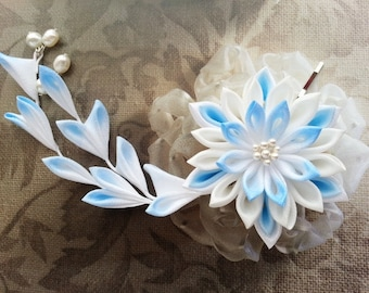 Kanzashi Light Blue Snow Flower Hair Clip - Made To Order