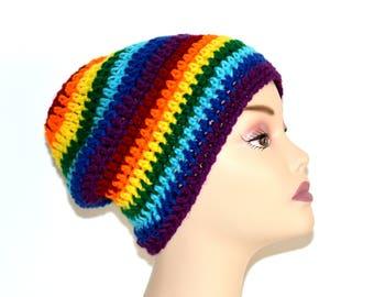 Rainbow Slouch Hat, Neon Rainbow Hat, Slouchy Beanie, Baggy Hat, Slouchy Winter Hat, Beanie Hat, Rainbow Hat, Womens Hat, Neon Crochet Hat