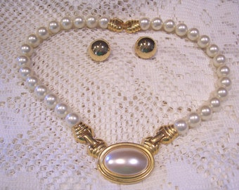 Napier Pearl Necklace and Monet Goldtone Earrings