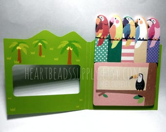 Cute Parrot sticky notes, post it, school office stationery, index tab, kawaii paper goods, memo pad, page maker id1360718, Sticky Notes Tab