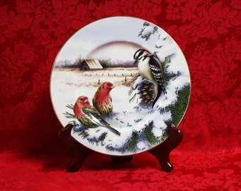 Catherine mcclung etsy lenox winter greetings scenic downy woodpecker house finch accent plate lenox winter greetings m4hsunfo