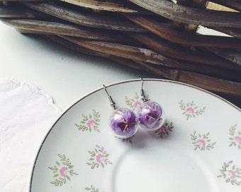 Petals earrings, Purple flower earrings, Ball earrings, Round Globe earrings Natural Terrarium jewelry, Violet petals, Botanical Real flower