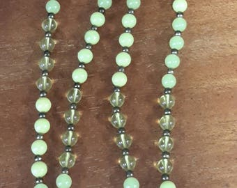 """Vintage Yellow Glass (Clear, Opaque and Opalescent) with Gold Beads in Between 55"""" Long"""