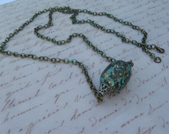 Teal Barrel Bead Brass Chain Necklace, Turquoise Barrel Bead Brass Chain Necklace