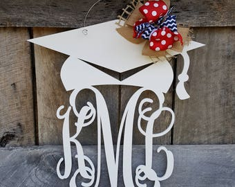 Graduation Door Hanger - Painted Graduation Wreath - Personalized Graduation Party Decor - Monogram Door Hanger