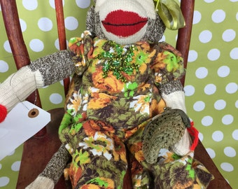 "Sock Monkey - Vintage - ""Miss Tibby"""