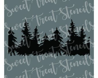 Woodland Trees Cookie Stencil