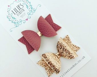 Rose gold and dusky pink hair bows