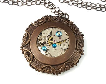 Steampunk Upcycled Watch Movement Unique Pendant Necklace