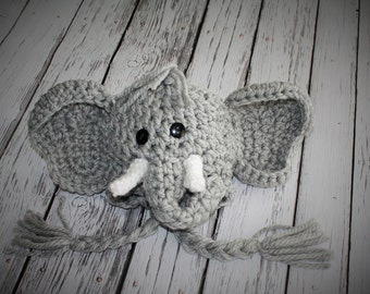 Elephant Hat with Trunk and Tusks - Baby Shower Gift - Baby Hats - Elephant Halloween Costume - Pretend Dress Up - by JoJo's Bootique