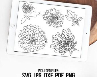 Zinnias SVG, Zinnia SVG, ZInnia Vector, Hand Drawn, Silhouette Cut File, Zinnia Flower, Instant Download, ZInnia Clipart, SVG Cut File