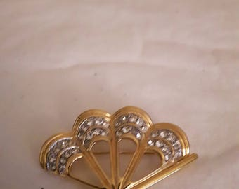 Vintage Golden Fan with Clear Rhinestones Brooch - 1980's - Wedding/Birthday/Anniversary/Mother's Day