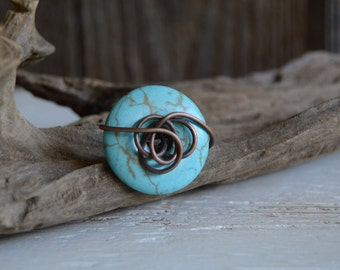 Turquoise, Magnesite, Copper, Chunky, Wire Wrapped, Ring, Statement ring