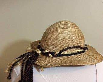 Vintage Saks Straw Hat W/ Tassels Made  In  England Phlilip Somerville