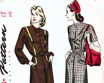 1940s Dress Pattern, Womens Bust 38, Vintage Sewing Pattern, 40s Shirtwaist Dress with Pockets, Short or Long Sleeve UNCUT