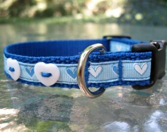 Blue Dog Collar, heart dog collar, dog collars for dogs, dog collar for boy, dog collar for girl, cute dog, toy dog collar, female dog, male