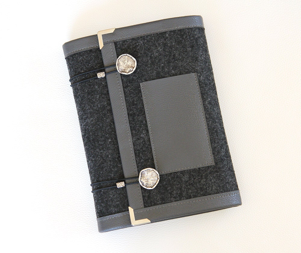 Smoked Gray Felt Ring Binder Agenda/ Planner Cover
