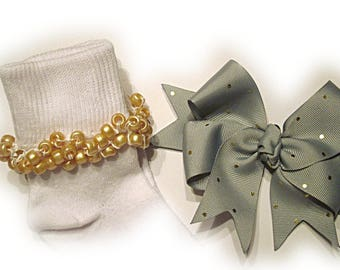 Kathy's Beaded Socks - Gray with Gold Dots Socks and Hairbow, holiday socks, pony bead socks, gold socks, pearl socks, holiday socks