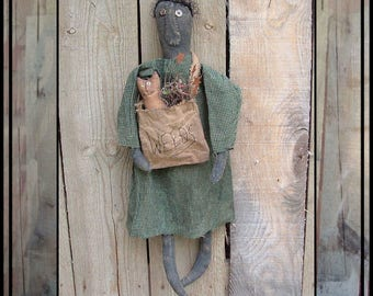 SALE mailed paper pattern Primitive folk art rag doll with her weed bag and cat HAFAIR OFG faap 318