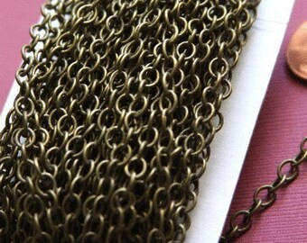 32ft spool of Antique Brass Chain round cable chain 4X5mm - Soldered Links