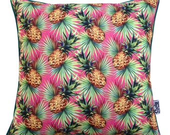 Kitsch TROPICAL PUNCH Pineapple Outdoor Indoor Cushion Cover PINK