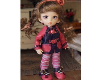 Genuine leather shoes & coat jacket for Pukifee bjd doll