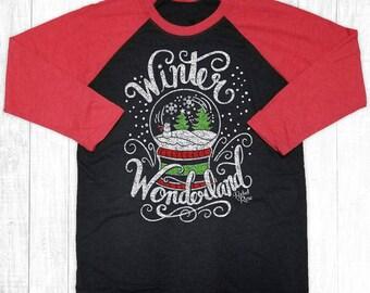 Christmas Shirts, Winter Wonderland, Christmas Raglan, Christmas Outfit, Holiday Shirt