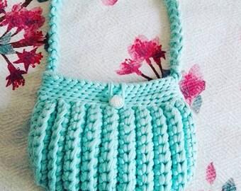 Handmade Mini Knit Bag Turquoise