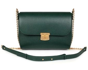 Leather Crossbody Bag, Dark green Leather Shoulder Bag, Women's Leather Cross body Bag, Leather bag KF-827