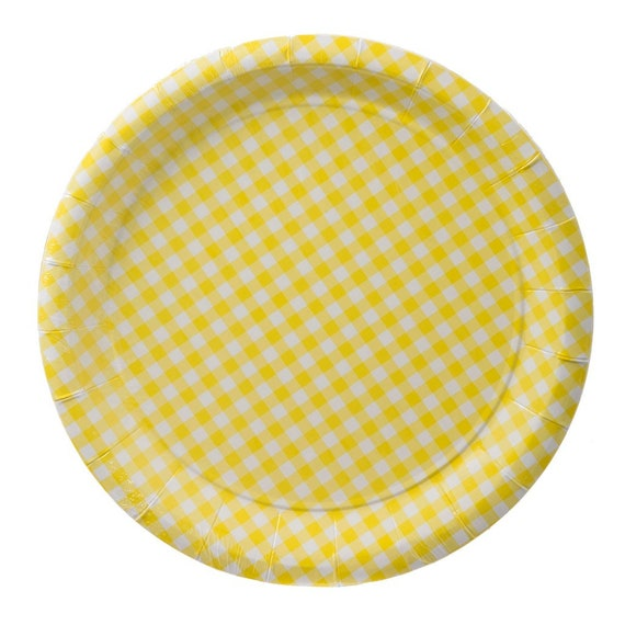 sc 1 st  Etsy & Sale 10 YELLOW GINGHAM Paper Plates Checkered Spring Baby