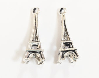10 Antique silver Eiffel tower  charm 10x24mm, Antique silver alloy charm