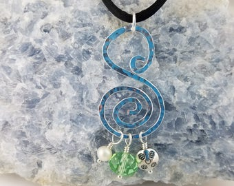 Silver Swirl Pendant Necklace Hand Hammered Aluminum Wire With Pearl Crystal Pewter Dangles