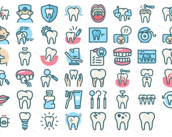Dental Art Icons Tooth Dentist Chair Medic Care White Clear Tooth Lip Mouth  Smile Dentistry Gums
