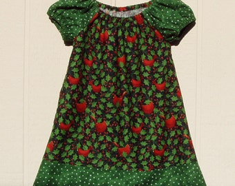 Christmas Cardinals Cotton Peasant Dress with Green Border Size 18 Months
