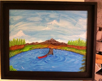 Fish Eye Canoe 16x20 framed acrylic painting