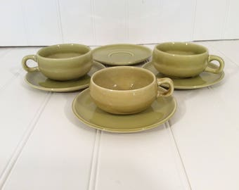 Russel Wright American Modern - 1 Lot of 3 Tea/Coffee Cup and Saucer Sets - Color Chartreuse - Made in Steubenville Ohio