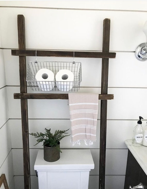 throw rustic ladder over the toilet storage farmhouse towel. Black Bedroom Furniture Sets. Home Design Ideas