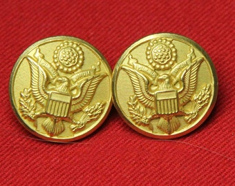 Two Men's Vintage Waterbury U.S. Army Military Buttons 1970s