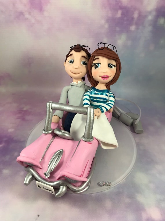 Wedding cake topper bride and groom in las vagas car/ elvis wedding - clay wedding keepsake - fully personalised.