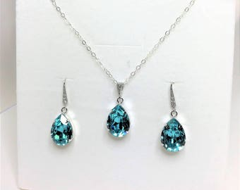 Light Turquoise Wedding Jewelry Swarovski Crystal Pendant Crystal Drops Blue Green Bridesmaid Gift Mother of the Bride Gift Prom Jewelry