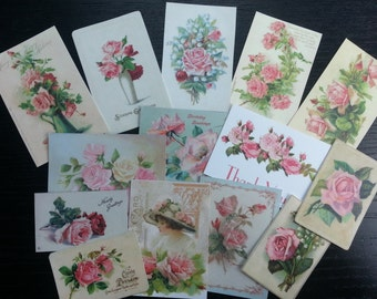 BB021 -- Lot of 14 Vintage Pink Roses Greeting Card DIE CUTS for Card Making Free Shipping