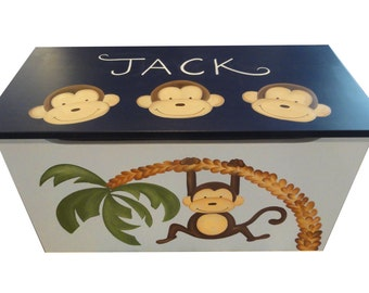 Childrens wooden toy box -  Monkey Business