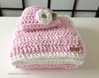 Chunky Crochet Baby Blanket and Hat Set, Chunky Crochet Throw, Soft Baby Blanket, Chunky Crochet Hat, Pink Color, Ready To Ship!!!