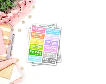 Pain Tracker Planner Stickers, Track Your Pain, Chronic Pain Stickers, Daily Pain Stickers, Neutral and Colorful Stickers