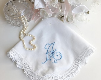 Custom Floral Monogram Wedding Handkerchief