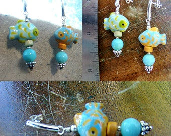Turquoise, Lime and Orange Tropical Fish Earrings