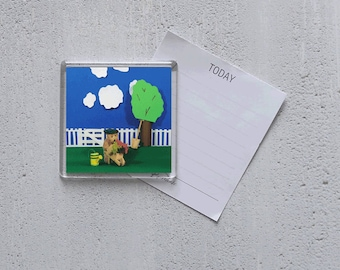Acrylic Magnet - photo - Busy Ted working in the garden!