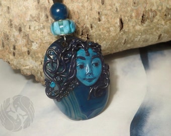 OOAK 'Water Sprite' pendant, Agate, Ink Apatite, Onyx  (crystal, gemstone, polymer clay, leather) - 'Chronicles' collection